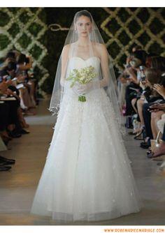 Belle robe de mariage magnifique 2013 blanche A-line appliques tulle
