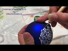 Tutorial blue glass Christmas ornament with white acrylic mandala by Gitka Schmidtova Quilted Christmas Ornaments, Christmas Snowflakes, Christmas Balls, Christmas Diy, Hand Painted Ornaments, Handmade Ornaments, Painting Snowflakes, Nightmare Before Christmas Wreath, Christmas Crafts