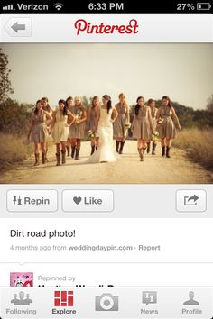 Country wedding dirt road picture, i will definately be doing this! Wedding Picture Poses, Wedding Couples, Wedding Pictures, Perfect Wedding, Dream Wedding, Diy Wedding, Wedding Stuff, Wedding Dress, Road Pictures