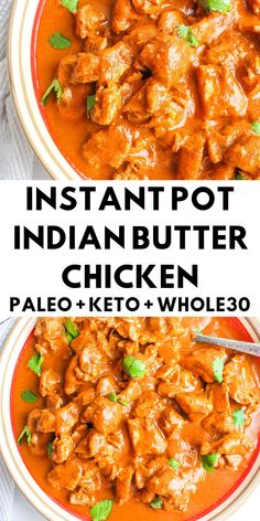 Instant Pot Indian Butter Chicken - Whole 30 - The Bettered Blondie A take on one of your favorite Indian dishes. This butter chicken is a creamy and comforting dish that will change the way you feel about healthy eating! Indian Food Recipes, Whole Food Recipes, Diet Recipes, Dairy Free Indian Recipes, Healthy Instapot Recipes, Healthy Thai Recipes, Indian Chicken Recipes, Best Paleo Recipes, Whole30 Recipes