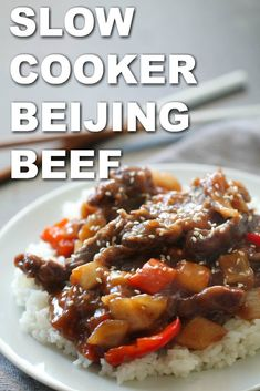 This Slow Cooker Beijing Beef is made with juicy steak tossed in a sweet and tangy sauce with peppers and onions. This easy recipe tastes better than Chinese takeout and only takes a few minutes to throw together. Slow Cooking, Side Dish Recipes, Asian Recipes, Slow Cooker Recipes, Crockpot Recipes, Beijing Beef, Homemade Chinese Food, Beef Flank Steak, Peking