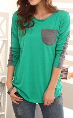 Wholesale Tops For Women, Trendy Womens Fashion Cheap Tops Online. Color Block Lady-like style pocket Casual Outfits, Cute Outfits, Fashion Outfits, Womens Fashion, Fashion 2017, Trendy Tops, Cute Tops, Ladylike Style, Mein Style
