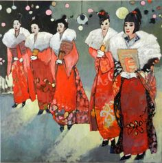 "Original art for sale at UGallery.com | White Gloved Geisha by Mary Pratt | $3,475 | oil painting | 48"" h x 48"" w"