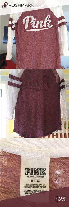 Super soft Pink 3/4 sleeves size M! Light weight. Soft and cozy Pink 3/4 sleeves light weight . Sz M PINK Victoria's Secret Tops Tees - Short Sleeve