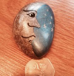 Hand+painted+rock+moon+and+stars+by+Cobblecreatures+on+Etsy