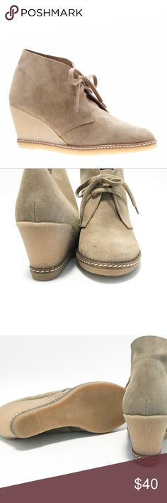 JCrew McAlister Chukka platform wedge. Size 6 JCrew McAlister Chukka platform wedge. Size 6. Light tan suede shoe with rubber heel. Very versatile style. Great condition except for the small mark on the toe see photo. Lace ups. J. Crew Shoes Wedges