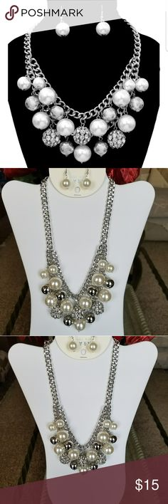 Silver Multi Ball & Pearl Necklace Set Brand New! Jewelry Necklaces