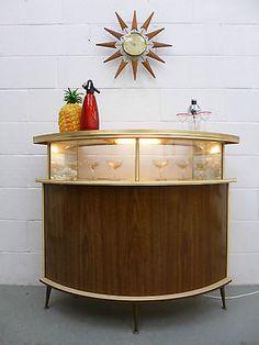 20th Century Frugal Lampe Table Bedside In Plexiglas & Wood 1950 1960 Vintage 50s 60s Rockabilly