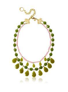 David Aubrey Estelle Double Strand Necklace 18k gold plated brass & dyed jade