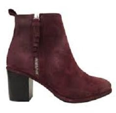 Burgundy, ankle boots in suede