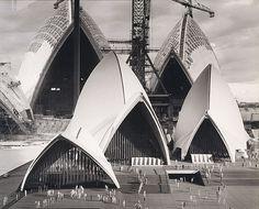 Sydney - Sydney Opera House under construction with model 1966