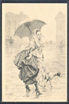 QP020 MM VIENNE Nr648 a/s MAURICE LELOIR Elegant LADY PUPPY DOG  UMBRELLA