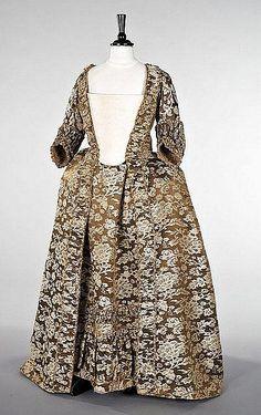 A robe à la francaise of Chinese lampas satin, circa 1760.