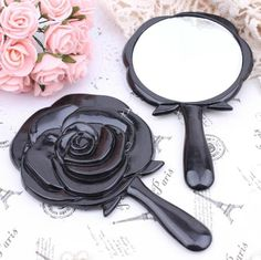 4f99e64bab AS21b Vintage 3D Rose Shaped mini Makeup Hand-held Mirror * Pocket size *  Mirror