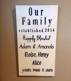 Custom Wooden Sign Our Family Happily Blended by SPLINTERED2014 Step mother step father divorced couple combining families. Personalized Engagement or wedding gift