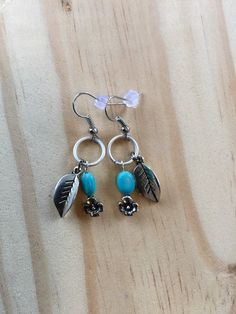Nickel free silver hook earrings / flower by SiBelleJewelry