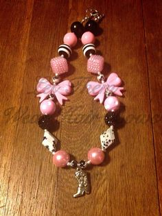 Pink, Black, and White Cowgirl Chunky Bead Necklace with Cowboy Boot and Cow Print Beads for Little Girls, Toddlers, Kids Jewelry, Trendy  on Etsy, $13.49