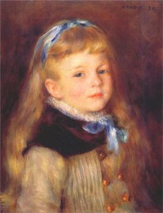 Mademoiselle Grimprel In A Blue Ribbon by Pierre Auguste Renoir Handmade oil painting reproduction on canvas for sale,We can offer Framed art,Wall Art,Gallery Wrap and Stretched Canvas,Choose from multiple sizes and frames at discount price. Pierre Auguste Renoir, Jean Renoir, Manet, August Renoir, Renoir Paintings, Watercolor Paintings, Art Gallery, Georges Seurat, Oil Painting Reproductions