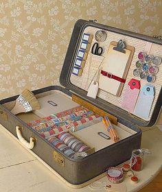 Plein de bonnes idées pour réutiliser une vieille valise! Chouette!