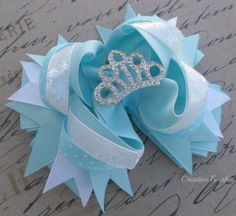 Elsa Hair Bow Crystal Tiara Center by CreativeFinishesBows on Etsy