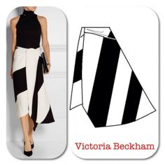 The Victoria Beckham asymmetric skirt is very eye-catching in black and white. There is draping, a wrap that closes with a hook and eye at the waistline and color-blocking. Fashion Model Drawing, Fashion Drawing Dresses, Fashion Sketches, Fashion Dresses, Dress Design Drawing, Dress Drawing, Skirt Patterns Sewing, Clothing Patterns, Pattern Sewing