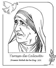 Menta Más Chocolate - RECURSOS PARA EDUCACIÓN INFANTIL: Premios NOBEL de la PAZ Peace Crafts, Religion Catolica, Great Women, Science And Nature, Adult Coloring Pages, Ladies Day, Geography, Cool Art, Stencils