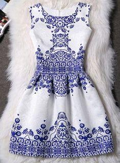 Elegant Round Neck Sleeveless Printed Jacquard Women's Dress