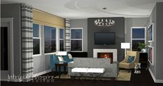 Our very sophisticated contemporary e-decorating design for a family room in San Diego.  www.intrigueandinspireedecor.com