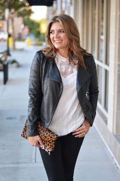 moto jacket and lace - white lace top with black faux leather moto jacket | www.bylaurenm.com