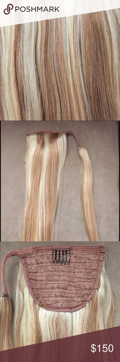 """100% Human Hair Extension 100% Human Hair Ponytail Wrap Around Clip Extension. Blonde Straight Hair. Color is P27/613. 120g. 16"""" length. Never used, only tried on. Last picture is stock photo to show how it's put in. Smoke free home. Accessories Hair Accessories"""