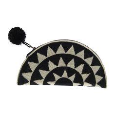 Black Half Moon with Black Pom Pom. Wayuu clutch. $120