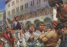Pompeyo celebrando un Triunfo, quizá el tercero, tras vencer a Mitrídates... Obra de Peter Dennis. Más en www.elgrancapitan.org/foro