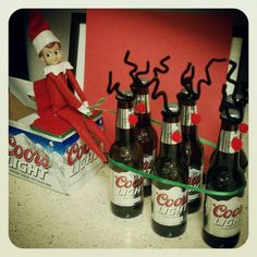Adult elf on the shelf. Reinbeers. Haha! I just might have to get an elf so we can do fun things like this. It would have to be ultra tho!