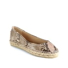 "Jimmy Choo Pow Snakeprint Leather Espadrille Flat Exotics snake-print leather updates a classic espadrille. Platform is 1"" and features a rubber sole with leather lining and a padded insole. Perfect for spring and summer and never worn! Does not include box. Jimmy Choo Shoes Espadrilles"