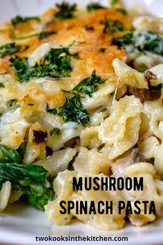 Baked Pasta Recipes Vegetarian, Vegetarian Main Dishes, Easy Pasta Recipes, Vegetarian Dinners, Dinner Recipes, Oven Recipes, Vegetarian Cooking, Spinach Pasta Bake, Pasta With Spinach