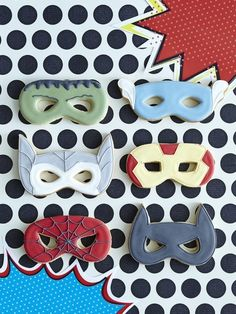 Superhero Mask Cookies, cute if they were the PJ Masks, or generic masks in the PJ colors