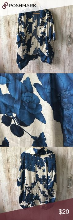 Mod cloth silk kimono Floral silk kimono - looks great with denim! Gently used. Great to dress up maternity clothes ModCloth Other