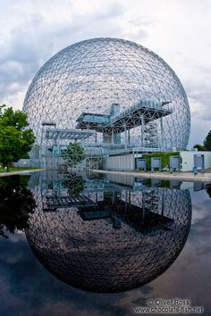 Montreal Biosphere, museum, dedicated to the environment, located at Parc Jean-Drapeau, on Saint Helen`s island. Expo 67 Montreal, Montreal Canada, Montreal Quebec, Beautiful Architecture, Architecture Details, Rivers And Roads, Buckminster Fuller, Space Frame, Dome House