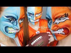 Superbowl 2014 Makeup/Facepaint Tutorial - YouTube Great Halloween Costumes, Halloween Looks, Halloween Face Makeup, Halloween Ideas, Face Painting Supplies, Body Painting, Carolina Panthers, Denver Broncos, Football Face Paint