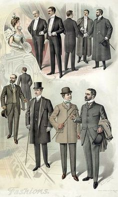 Winter fashions for men: from a print published in August of 1890s Fashion, Edwardian Fashion, Vintage Fashion, Mode Masculine, Moda Vintage, Vintage Men, Dandy, Victorian Men, Vintage Gentleman