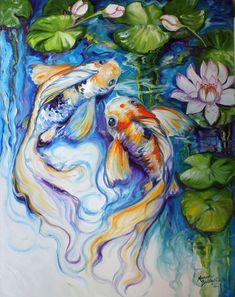 Contemporary Fine Art Gallery: KOI & WATERLILY ORIGINAL OIL PAINTING BLUE ART by MARCIA BALDWIN
