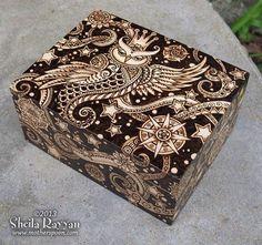 Celestial Owl Box - decorative woodburning pyrography would be great on my uke Wood Burning Pen, Wood Burning Crafts, Wood Burning Patterns, Wood Crafts, Pyrography Designs, Pyrography Patterns, Owl Box, Wood Projects, Woodworking Projects