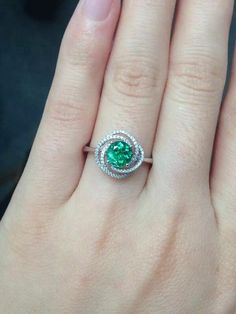 Treated Round Cut Emerald Ring Solid White by NidaRings Fashion Rings, Fashion Jewelry, Emerald Ring Vintage, Unusual Rings, Small Rings, White Gold Rings, Bracelet Set, Ring Designs, Wedding Rings