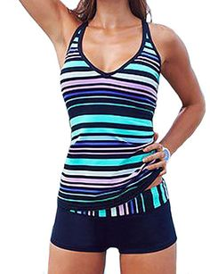 Women's Striped Color Block Bandeau Tankini Swimwear,Polyester Blue