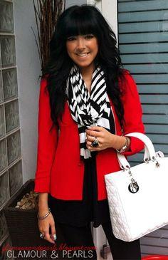 red blazer and striped scarf