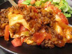 Tomato-Stuffed Beef-Topped Enchiladas