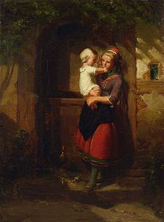"Johann Georg Meyer Von Bremen, ""Mutter mit Kind an der Haustüre"" (""Mother with Child at the Door"")"