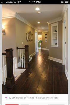 Dark wood floors and grey walls
