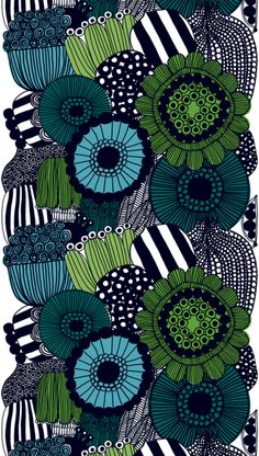 The Siirtolapuutarha from Marimekko Vancouver is a unique fashion item. Marimekko Vancouver carries a variety of printed fabric and other Fabric items. Motifs Textiles, Textile Patterns, Textile Design, Fabric Design, Pattern Design, Print Patterns, Zentangle Patterns, Zentangles, Illustration Arte