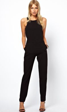 Black Plain High Waist Long Dacron Jumpsuit Pants - Jumpsuit Pants - Bottoms